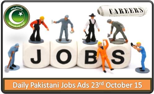 Pakistani Jobs Ads 23rd October 2015