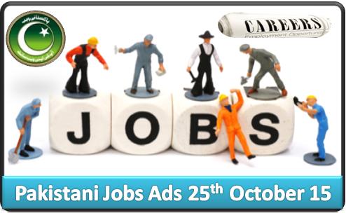 Pakistani Jobs Ads 25th October 2015