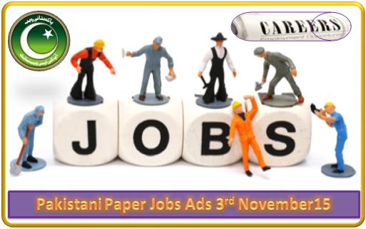 Pakistani Paper Jobs Ads 03 November 15