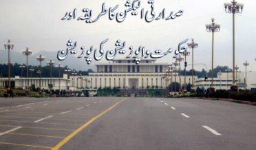 پاکستان میں صدارتی الیکشن کا طریقہ اور حکومت واپوزیشن کی قومی اسمبلی، صوابائی اسلمبلیوں اور سینٹ میں پارٹی پوزیشن
